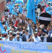 Demonstrators hold up East Turkestan flags in support of Uighur minority during a rally in Istanbul on July 12, 2009, to protest the deadly riots in …