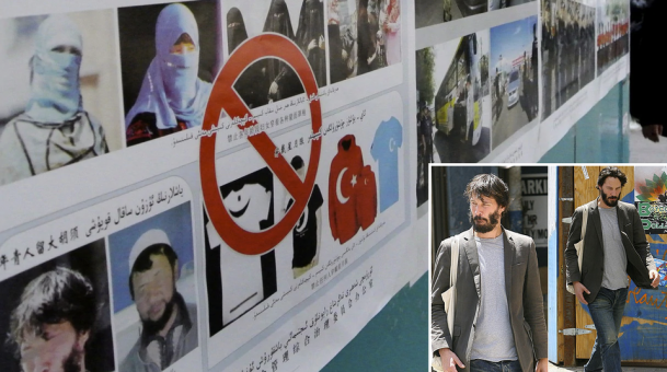 Keanu Reeves spotted in Chinese anti-Muslim propaganda poster in Xinjiang